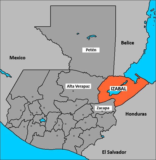 Mapa de ubicación de Izabal, Guatemala