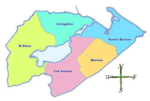 Mapa de municipios de Izabal, Guatemala