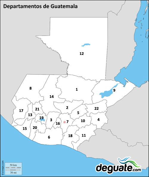 Mapa de los departamentos de Guatemala